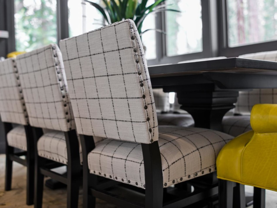 The look of lux roberts furniture - Grey fabric dining room chairs designs ...